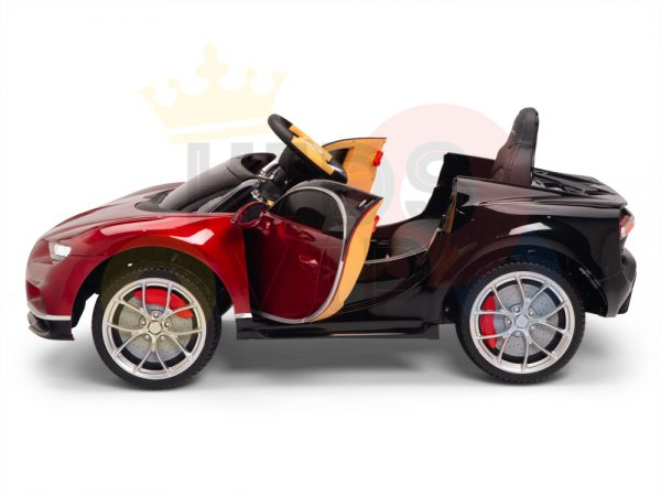 BUGATTI Kids toddlers ride car 12v rubber wheels rc leather seat remote control sport car super red paint 15