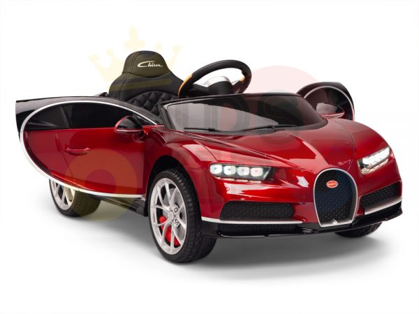 BUGATTI Kids toddlers ride car 12v rubber wheels rc leather seat remote control sport car super red paint 18