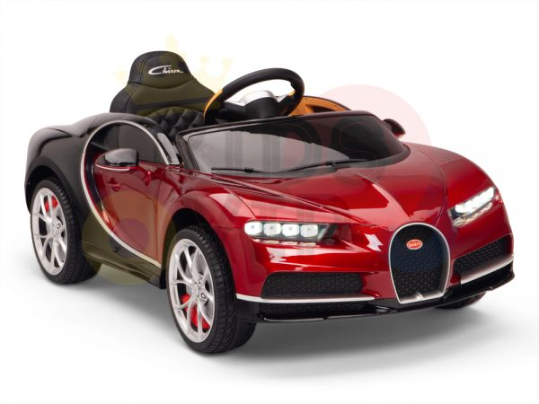 BUGATTI Kids toddlers ride car 12v rubber wheels rc leather seat remote control sport car super red paint 20