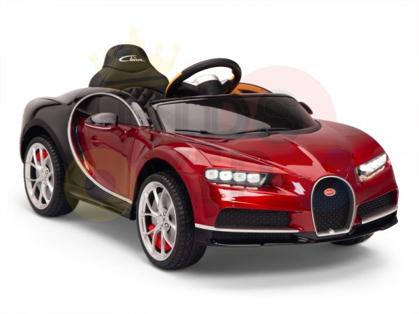 BUGATTI Kids toddlers ride car 12v rubber wheels rc leather seat remote control sport car super red paint 21