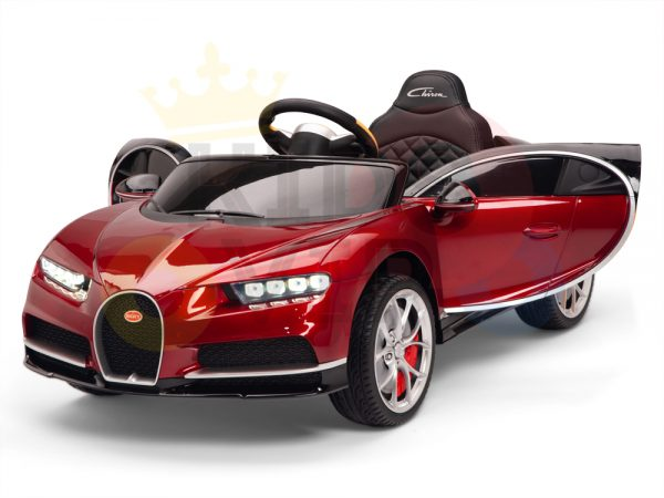 BUGATTI Kids toddlers ride car 12v rubber wheels rc leather seat remote control sport car super red paint 3
