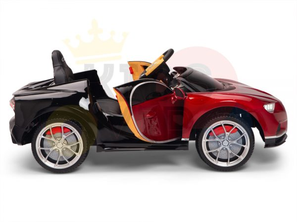 BUGATTI Kids toddlers ride car 12v rubber wheels rc leather seat remote control sport car super red paint 5