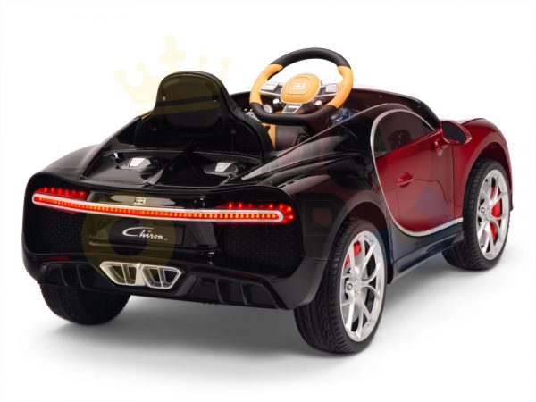 BUGATTI Kids toddlers ride car 12v rubber wheels rc leather seat remote control sport car super red paint 7