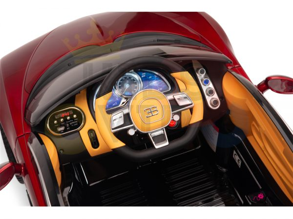 BUGATTI Kids toddlers ride car 12v rubber wheels rc leather seat remote control sport car super red paint 9