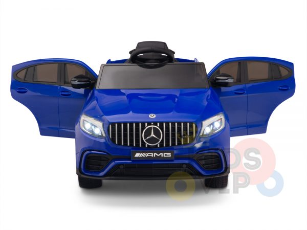 kidsvip mercedes benz glc63 glc suv kids and toddlers ride on car 4wd 4x4 12v leather seat rubber wheels blue 13