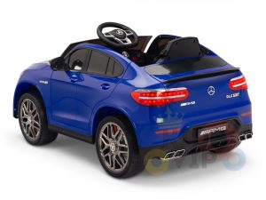 kidsvip mercedes benz glc63 glc suv kids and toddlers ride on car 4wd 4x4 12v leather seat rubber wheels blue 3