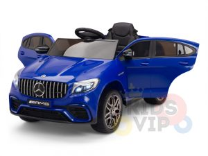 kidsvip mercedes benz glc63 glc suv kids and toddlers ride on car 4wd 4x4 12v leather seat rubber wheels blue 6