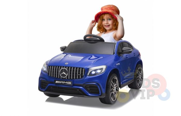 kidsvip mercedes benz glc63 glc suv kids and toddlers ride on car 4wd 4x4 12v leather seat rubber wheels blue 8