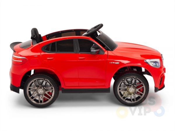 kidsvip mercedes benz glc63 glc suv kids and toddlers ride on car 4wd 4x4 12v leather seat rubber wheels red 1