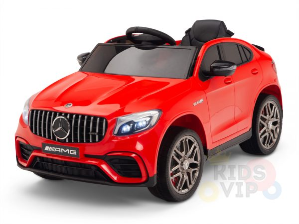kidsvip mercedes benz glc63 glc suv kids and toddlers ride on car 4wd 4x4 12v leather seat rubber wheels red 17