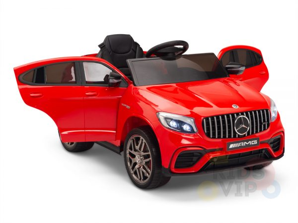 kidsvip mercedes benz glc63 glc suv kids and toddlers ride on car 4wd 4x4 12v leather seat rubber wheels red 22