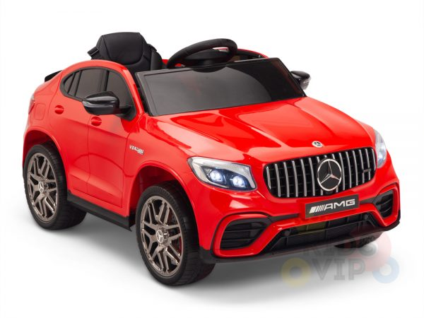 kidsvip mercedes benz glc63 glc suv kids and toddlers ride on car 4wd 4x4 12v leather seat rubber wheels red 25