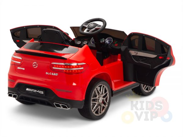 kidsvip mercedes benz glc63 glc suv kids and toddlers ride on car 4wd 4x4 12v leather seat rubber wheels red 3