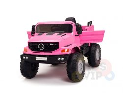 kidsvip mercedes benz zetros truck car for kids amd toddlers leather 12v rc rubber wheels pink 26