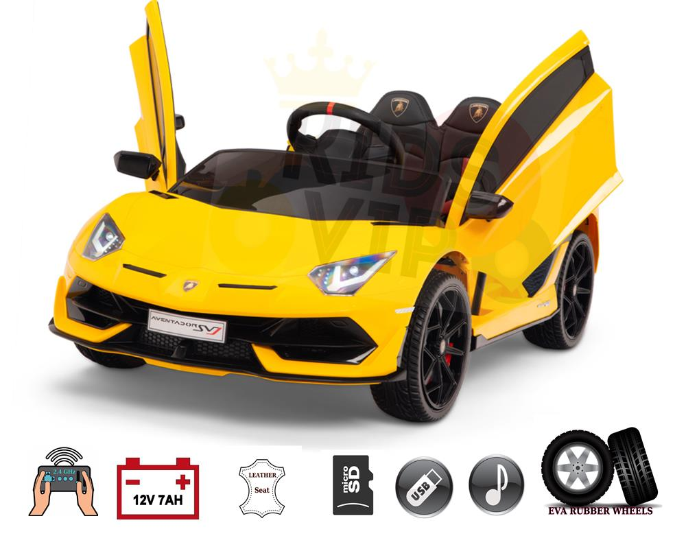Licensed Sport Lamborghini SVJ 12V Ride On Car for Kids with Remote Control – Yellow