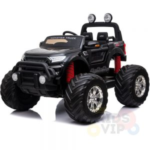 kidsvip 4x4 monster truck kids and toddlers 12v ride on truck car big rubber wheels black 22