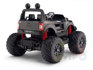 kidsvip 4x4 monster truck kids and toddlers 12v ride on truck car big rubber wheels black 4