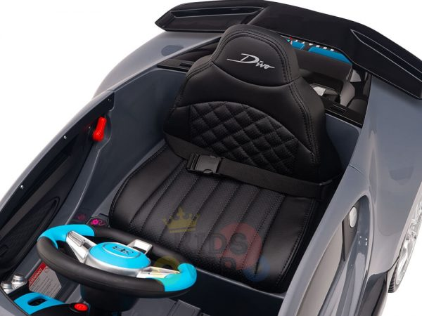 kidsvip buggati divo kids and toddlers ride on car sport 12v leather seat rubber wheels rc grey 12