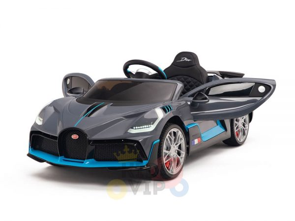 kidsvip buggati divo kids and toddlers ride on car sport 12v leather seat rubber wheels rc grey 4