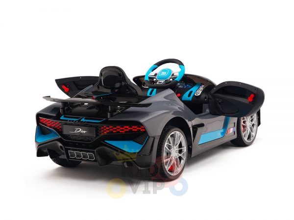 kidsvip buggati divo kids and toddlers ride on car sport 12v leather seat rubber wheels rc grey 7