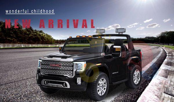 kidsvip gmc sierra kids ride on car 12v rubber wheels leather seat 2 seater red white black blue pink 29 1