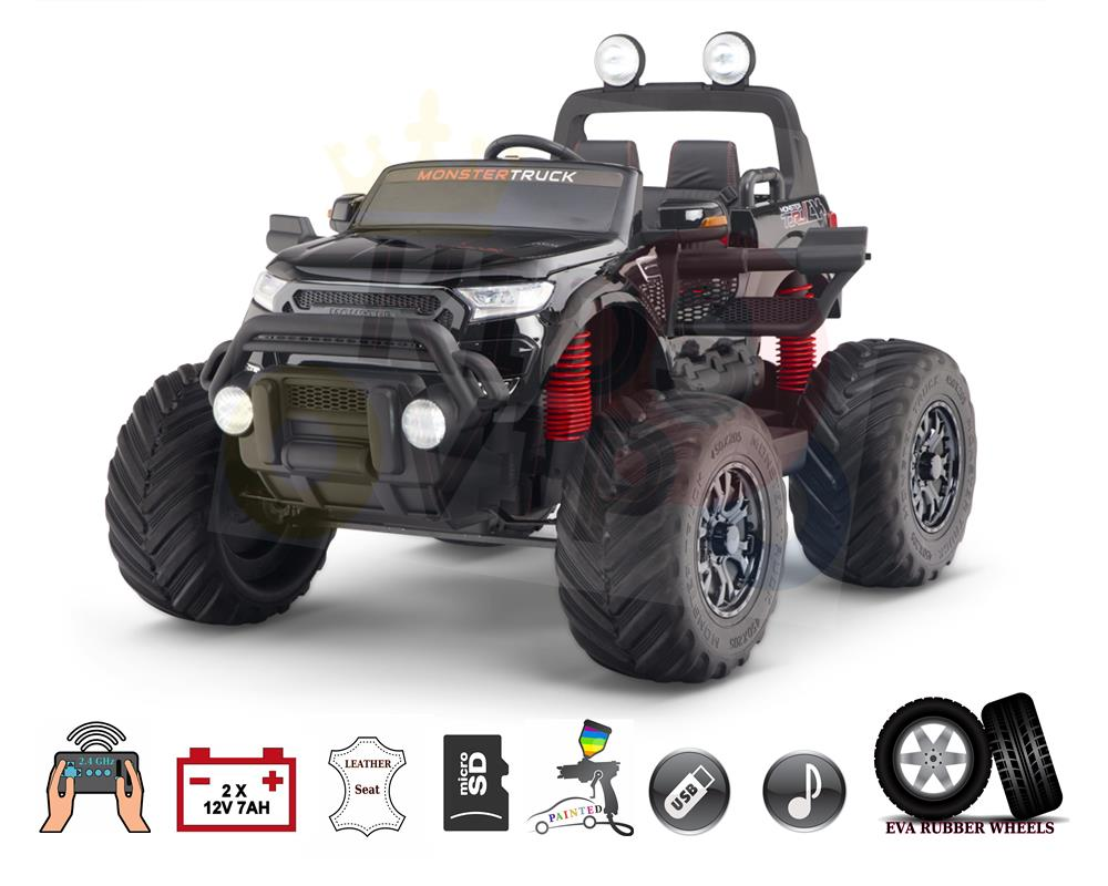 4WD Big Wheels Storm Monster Edition 2x12V Kids Ride On Truck, RC
