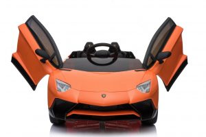kidsvip lamborghini 12v kids and toddlers ride on car leather seat remote lambo orange 12