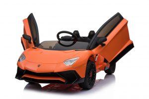 kidsvip lamborghini 12v kids and toddlers ride on car leather seat remote lambo orange 13