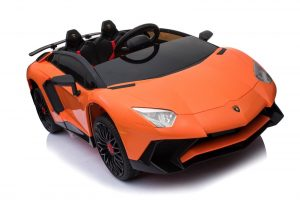 kidsvip lamborghini 12v kids and toddlers ride on car leather seat remote lambo orange 16