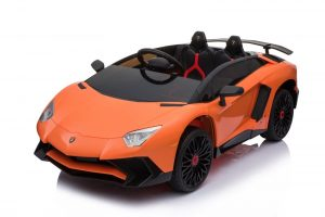 kidsvip lamborghini 12v kids and toddlers ride on car leather seat remote lambo orange 17