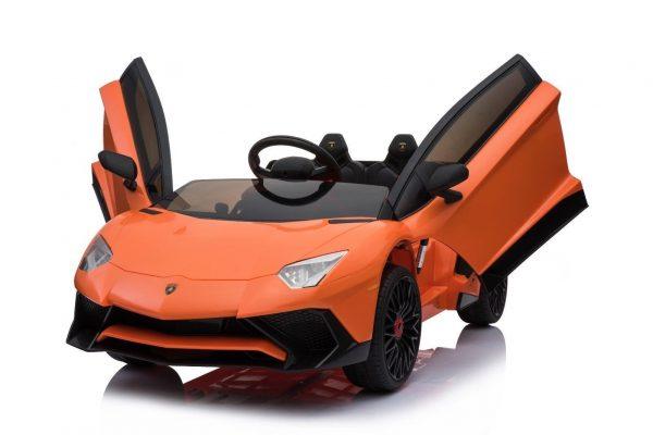 kidsvip lamborghini 12v kids and toddlers ride on car leather seat remote lambo orange 2