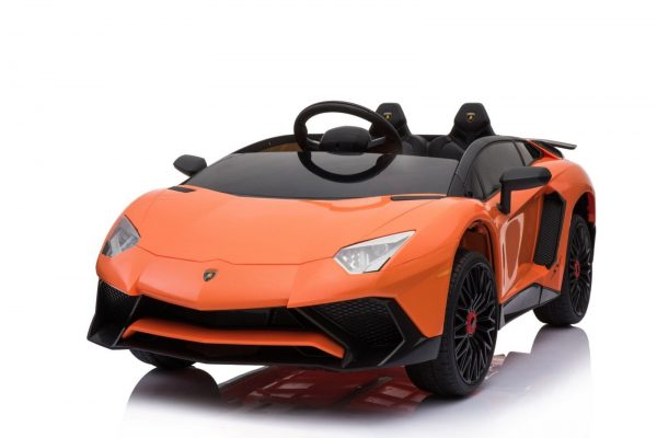 kidsvip lamborghini 12v kids and toddlers ride on car leather seat remote lambo orange 3