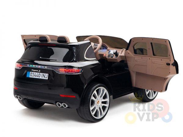 kidsvip porsche cayenne kids toddlers ride on car suv truc luxury black 6