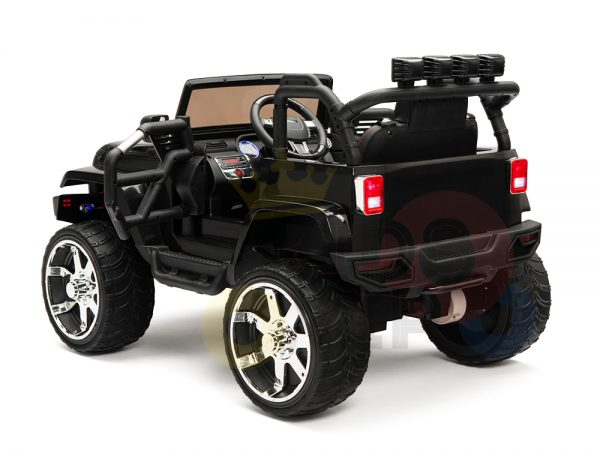 kidsvip 4x4 4wd kids and toddlers ride on jeep truck 12v rubber wheels leather seat black 16