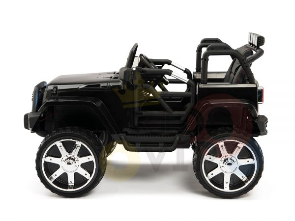 kidsvip 4x4 4wd kids and toddlers ride on jeep truck 12v rubber wheels leather seat black 18