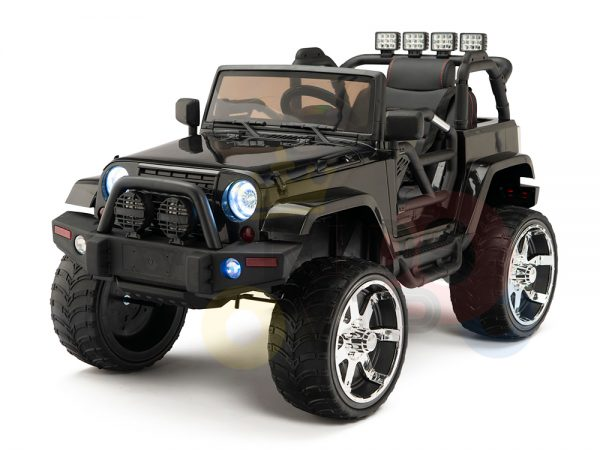 kidsvip 4x4 4wd kids and toddlers ride on jeep truck 12v rubber wheels leather seat black 19
