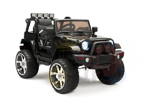 kidsvip 4x4 4wd kids and toddlers ride on jeep truck 12v rubber wheels leather seat black 4