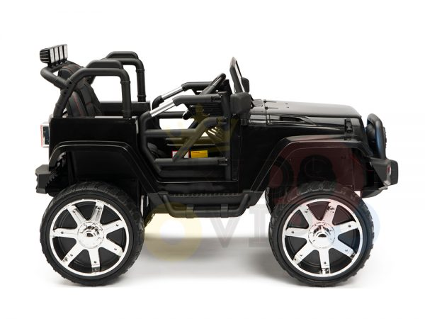 kidsvip 4x4 4wd kids and toddlers ride on jeep truck 12v rubber wheels leather seat black 7