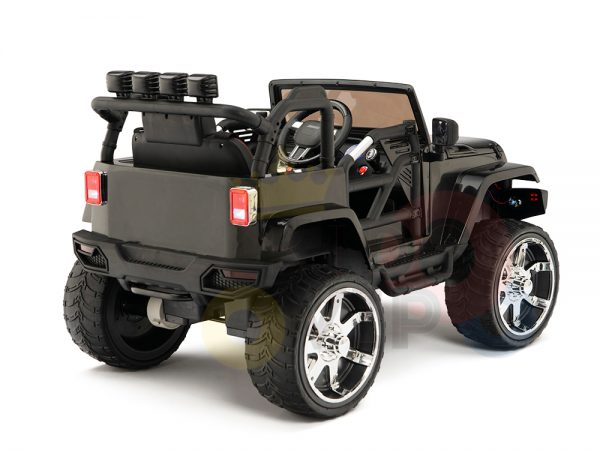 kidsvip 4x4 4wd kids and toddlers ride on jeep truck 12v rubber wheels leather seat black 9