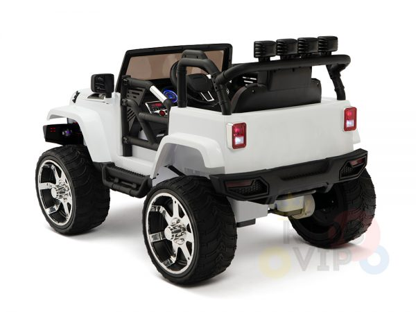 kidsvip 4x4 4wd kids and toddlers ride on jeep truck 12v rubber wheels leather seat white 14