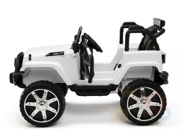 kidsvip 4x4 4wd kids and toddlers ride on jeep truck 12v rubber wheels leather seat white 16