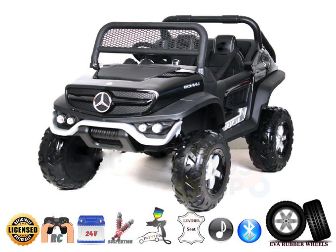 Official 2 Seater Mercedes Unimog 24V Kids Ride On Car with Remote Control