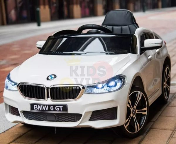 bmw gt kids and toddlers ride on car 12v rubber wheels leather seat white 14