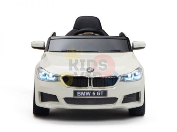 bmw gt kids and toddlers ride on car 12v rubber wheels leather seat white 17