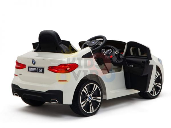 bmw gt kids and toddlers ride on car 12v rubber wheels leather seat white 18