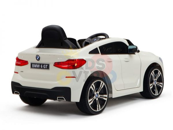 bmw gt kids and toddlers ride on car 12v rubber wheels leather seat white 23