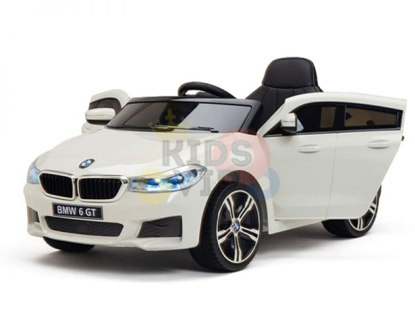 bmw gt kids and toddlers ride on car 12v rubber wheels leather seat white 26