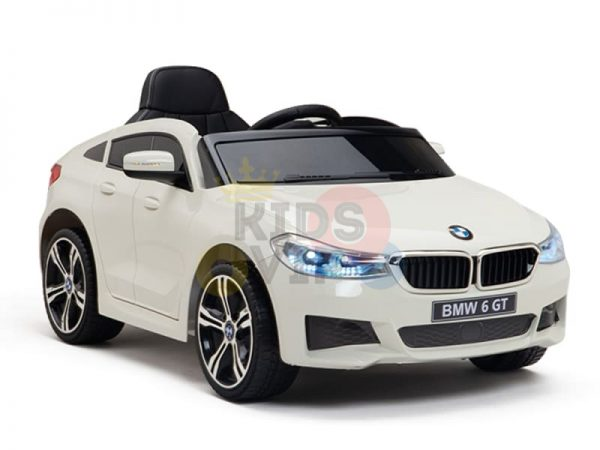 bmw gt kids and toddlers ride on car 12v rubber wheels leather seat white 28