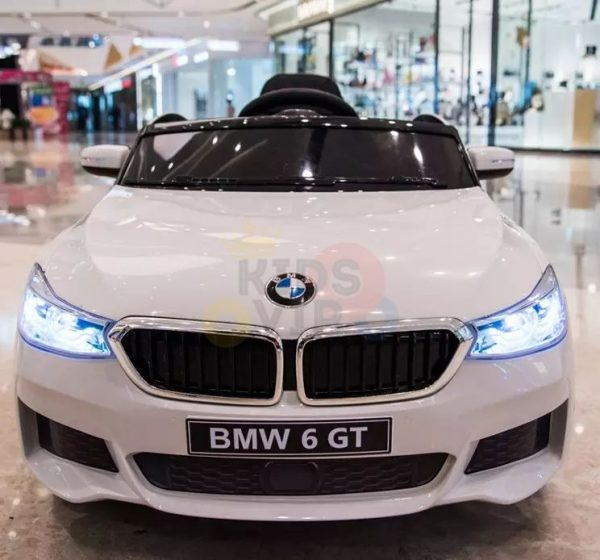 bmw gt kids and toddlers ride on car 12v rubber wheels leather seat white 29