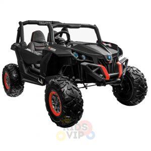 kidsvip 2 seater ride on utv sport 24v rubber wheels toddlers kids black 3